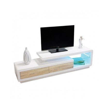 TV stand BONACO white/sonoma + LED - 170 cm